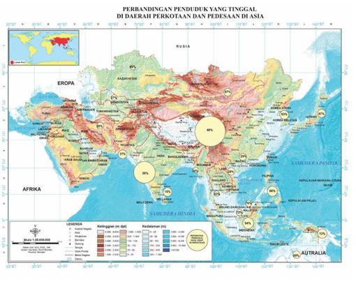 perbandingan penduduk kota dan desa di asia dan persebarannya