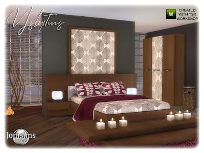 Acsventsy bedroom Yslextius Спальня для взрослых для The Sims 4 Спальня для взрослых Yslextius меняет цвет, чтобы изменить стиль. встроенный столик с двуспальной кроватью тумба. коврики, подушки, кровати. одеяло кровать. скульптура. корзина, камин. настенные росписи. настольная лампа. часть 2 кровать Новый уголок отдыха. Автор: jomsims
