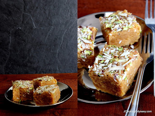 A famour north Indian milky fudge known as dodha, it is purely made with khoya or milk solids, sugar and nuts.