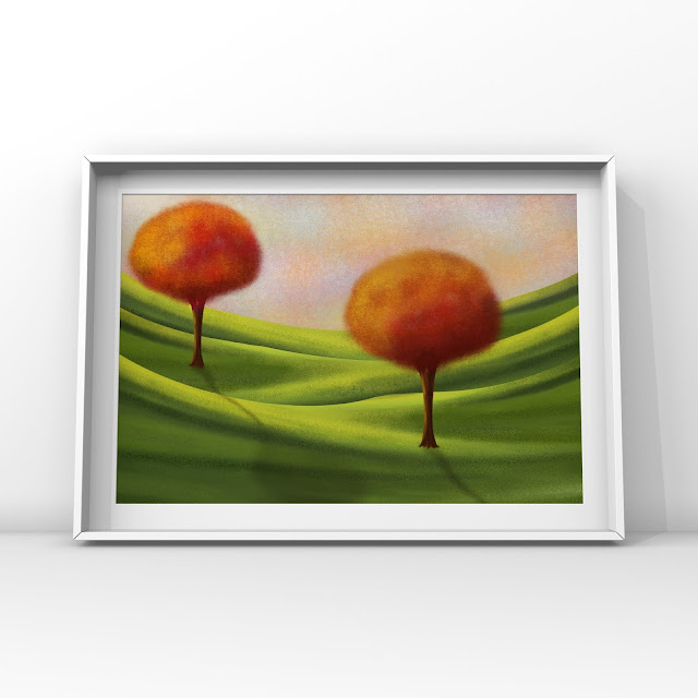 trees, fields, sky, art,