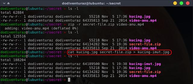 Cara menyembunyikan file ke dalam gambar di linux