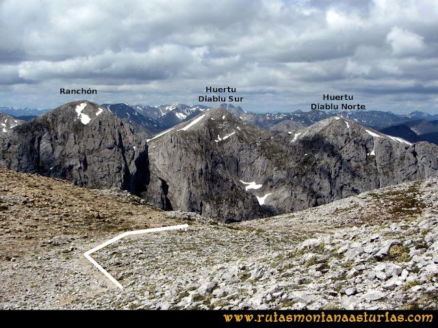 Ruta Lindes - Peña Rueda - Foix Grande: Vista de los Huertos del Diablo