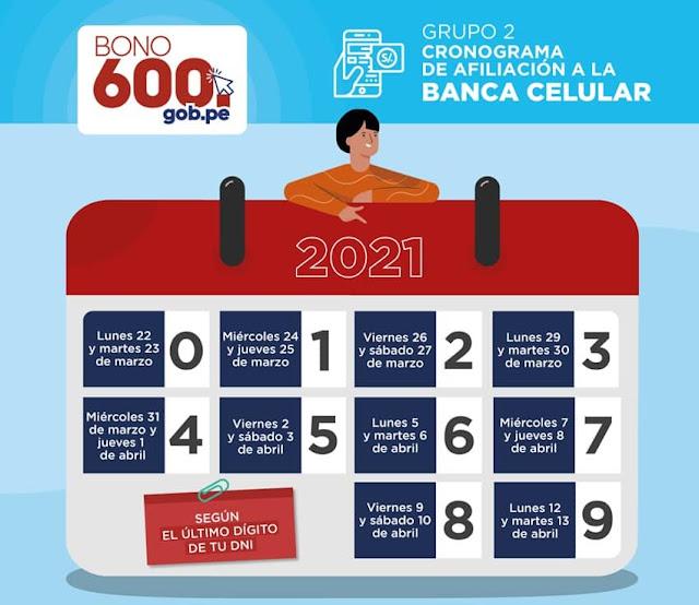 Bono 600 – Nuevo cronograma vía Banca Celular
