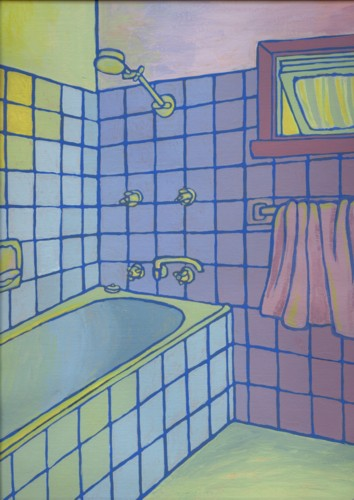 Bathroom by Alisa Perks. Gouache painting
