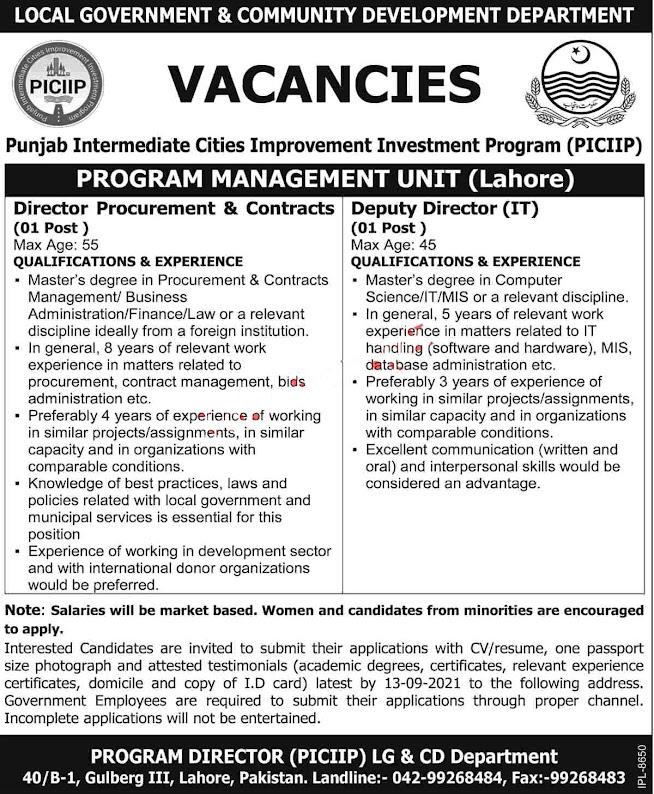 Local Government Punjab latest  Jobs 2021 – PICIIP-PMU Lahore  Latest Jobs