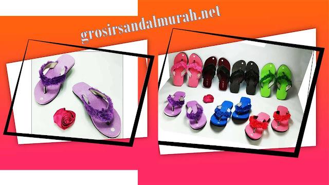 Grosirsandalmurah.net - Sandal Wanita - Sandal Lisban Bulu GSJ