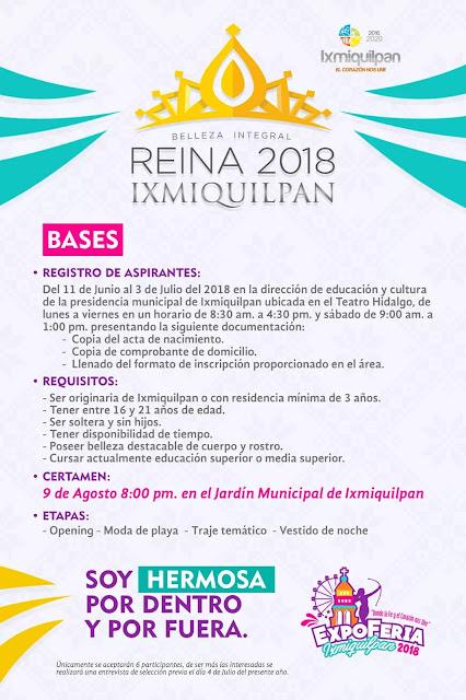 convocatoria reina ixmiquilpan 2018