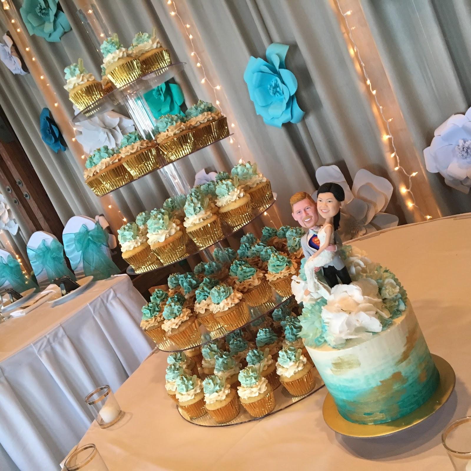 Teal White Gold Wedding Cake Dessert Table