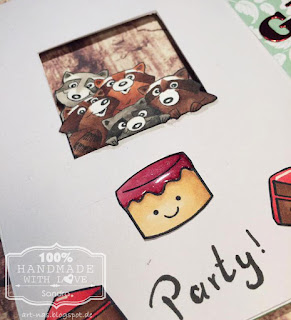 """Birthdaycard inside with racoons from Art Impressions Set """"Any Cake"""", Lawn Fawn """"Year Three"""" Cake and Copic coloring"""