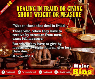 MAJOR SIN. 62.2. DEALING IN FRAUD OR GIVING SHORT WEIGHT OR MEASURE