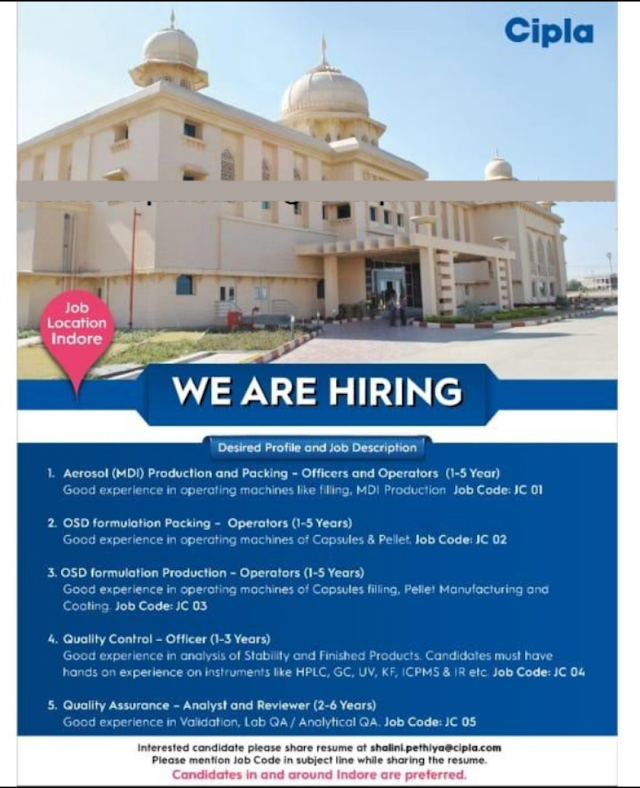 Cipla Openings for QC/ QA/ Production/ Packing Apply Online