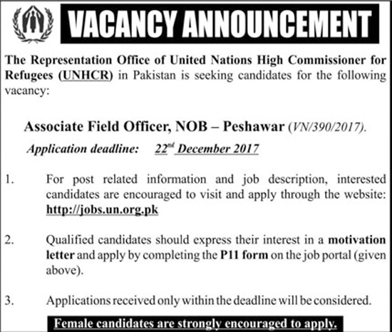 Jobs In United Nations High Commissioner For Refugees Peshawar Dec 2017