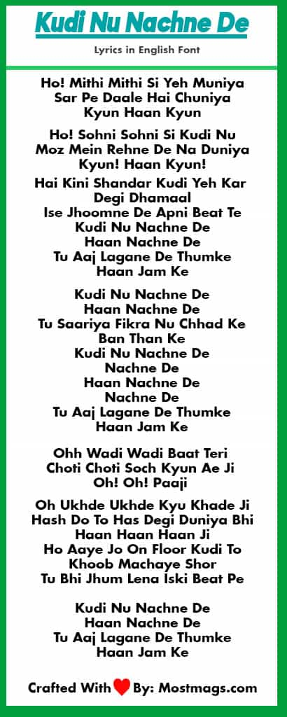 Kudi Nu Nachne De Lyrics in Hindi