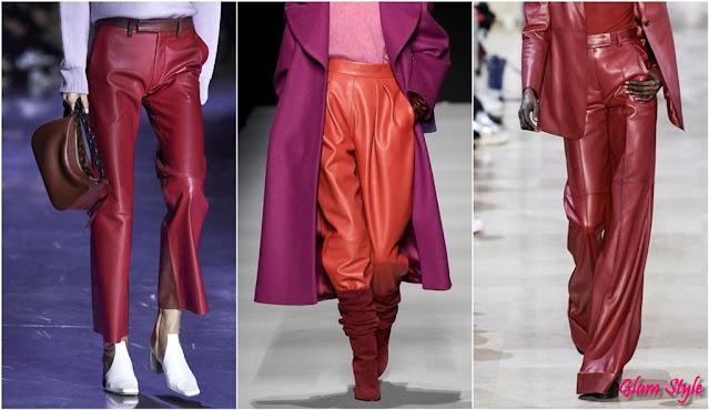 pantaloni di pelle rossi