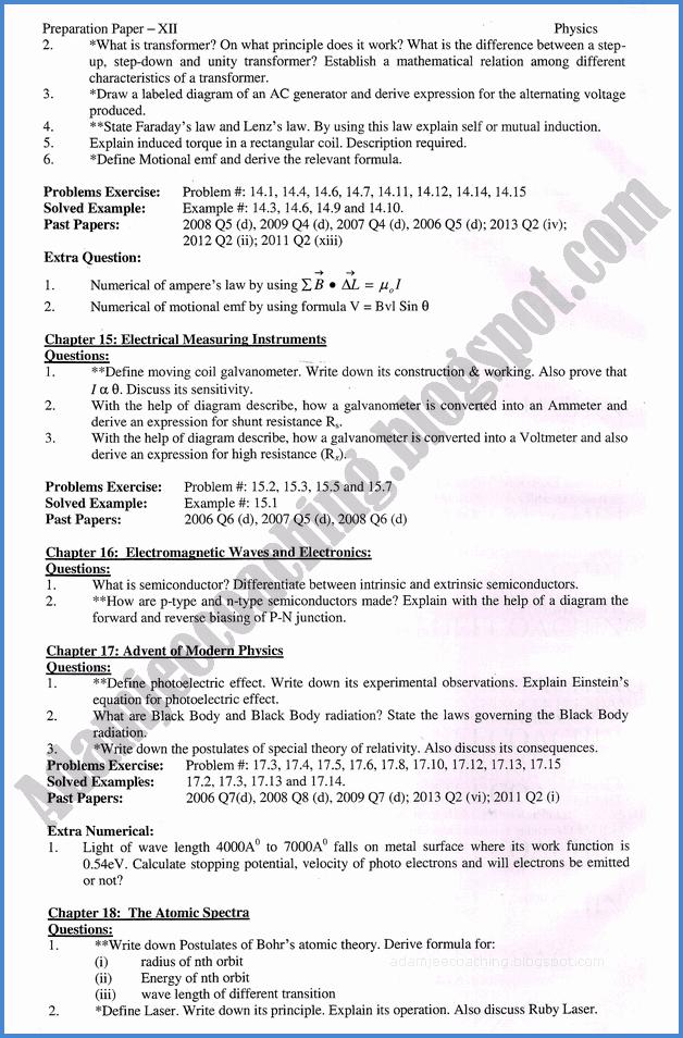 Adamjee Coaching: Physics 12th - Adamjee Coaching Guess Paper 2019
