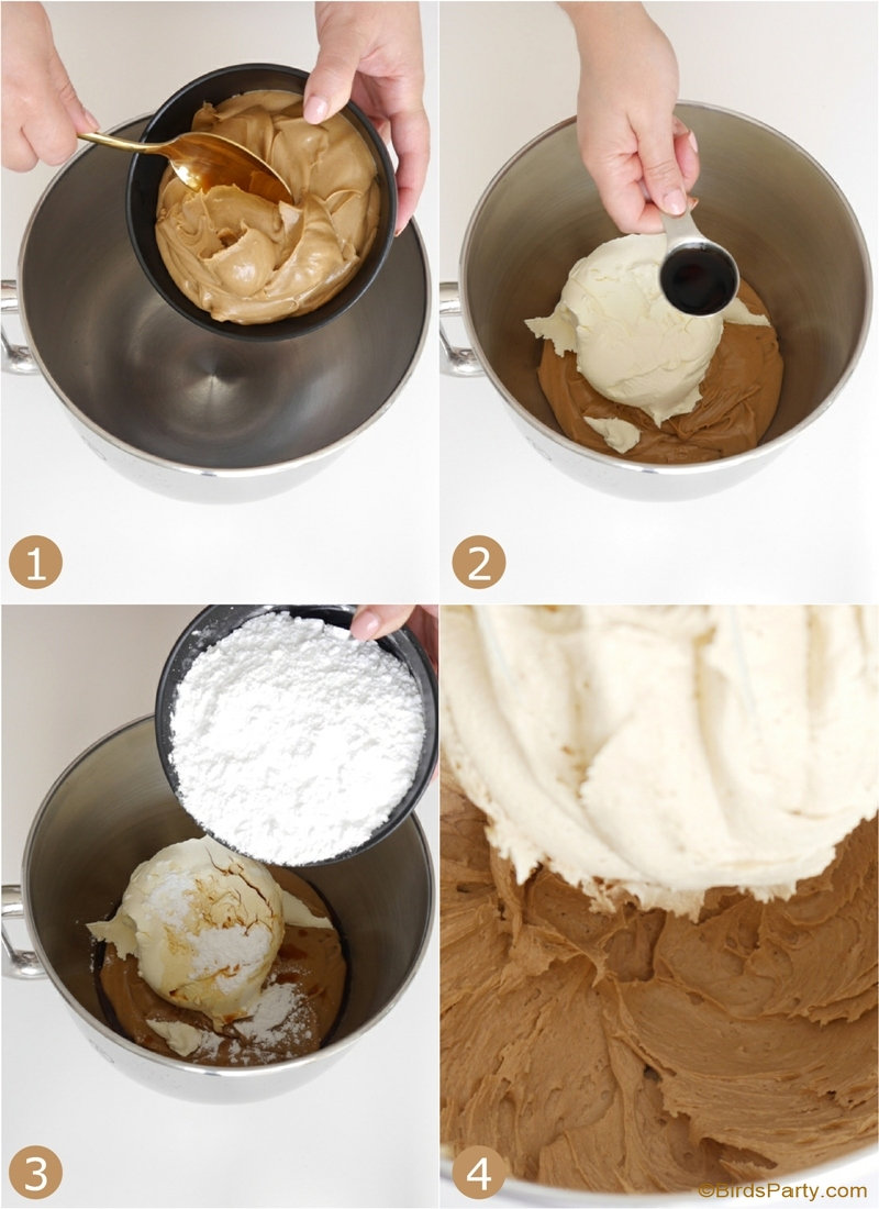 Gâteau de Fête au Beurre de Cacahuètes - recette délicieuse et facile à réaliser avec un biscuit, glaçage et caramel au beurre de cacahuètes! by BirdsParty.com @birdsparty #gateau #recette #beurredecacahuetes #gateaux