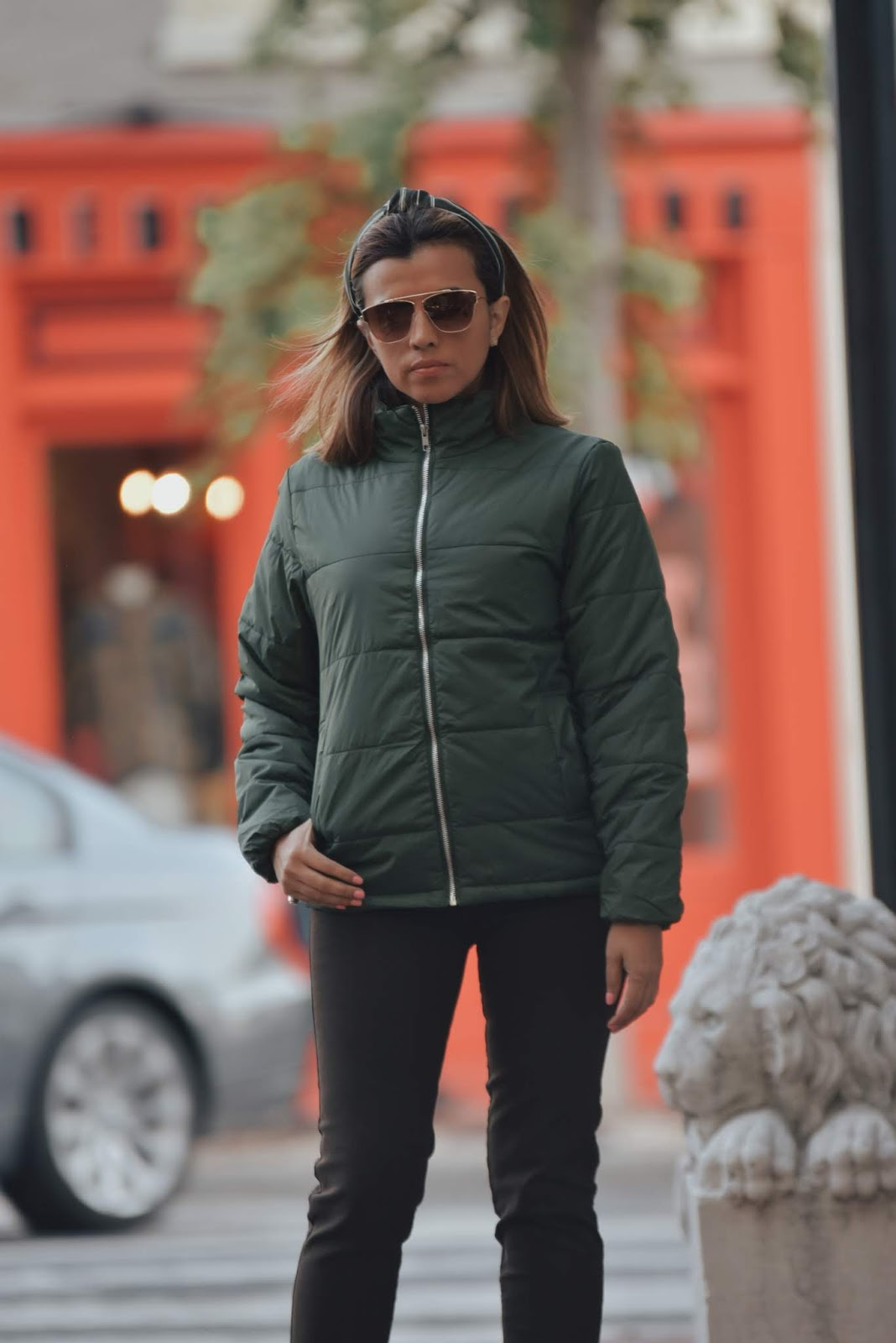 Army Green Quilted Zip-Up Puffer Parka Jacket for the weekend