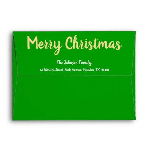 Rustic Merry Christmas Green Gold Holiday Mailing Envelope