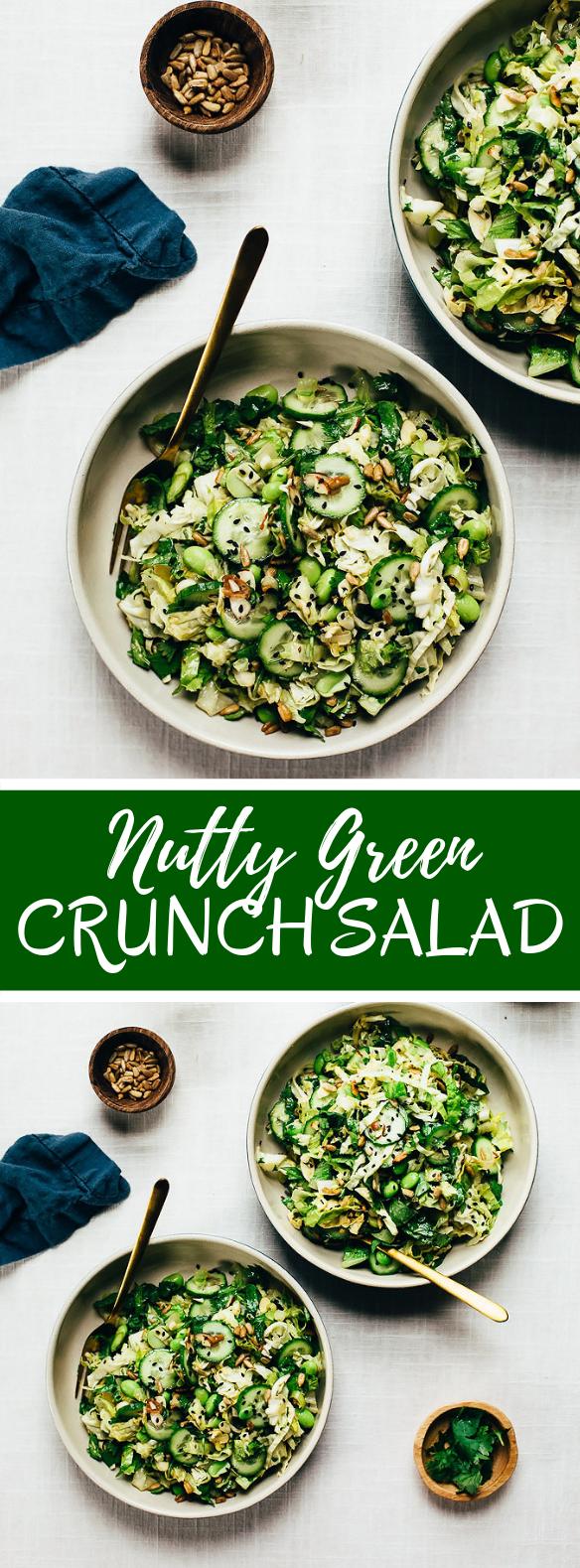 NUTTY GREEN VEGGIE CRUNCH SALAD #vegetarian #veggies