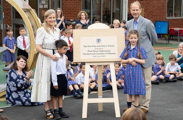 The Countess of Wessex wore a new cotton summer stripe midi dress from ME+EM. Pre-Prep and Music School at Eagle House
