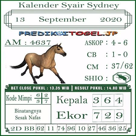 Kalender Prediksi Sidney Minggu 13 September 2020