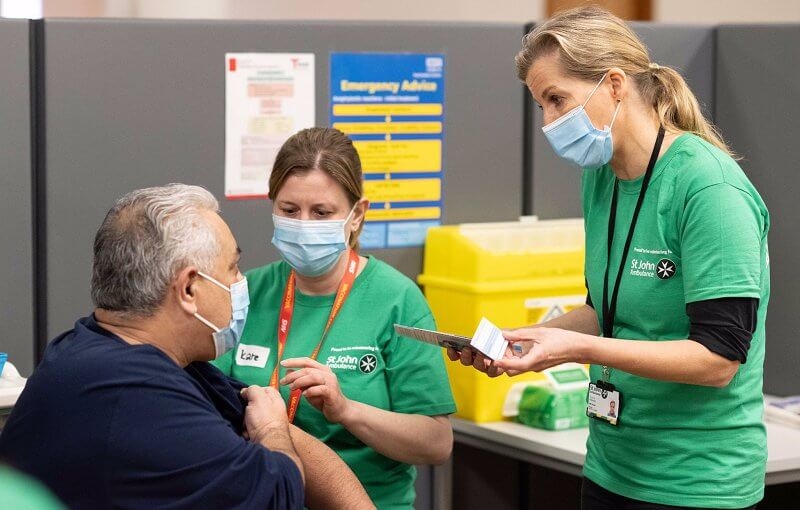 Countess of Wessex completed her first shift as a St John Ambulance Care Volunteer at a National Health Service vaccination centre