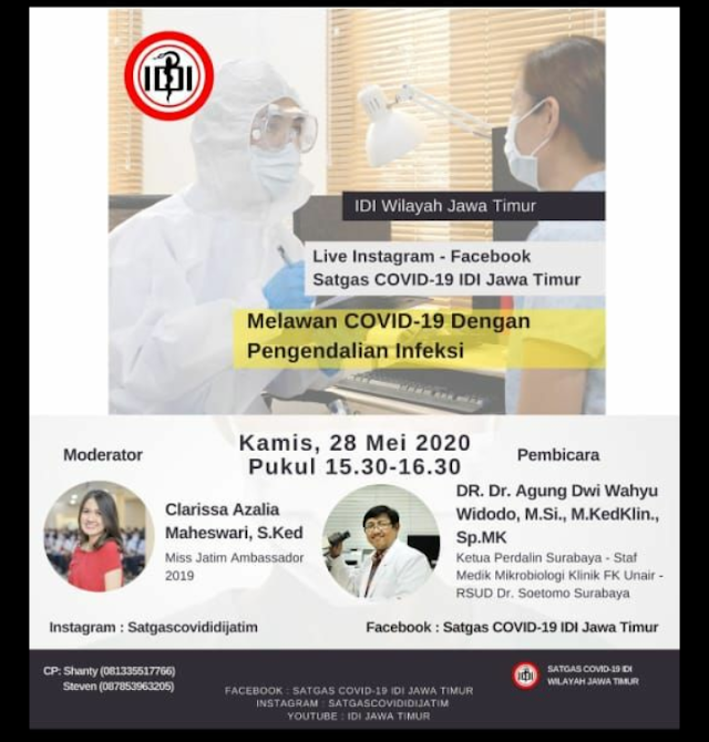 """Live instagram satgas Covid-19 IDI Wilayah Jawa Timur """"Melawan covid-19 dengan pengendalian infeksi"""""""
