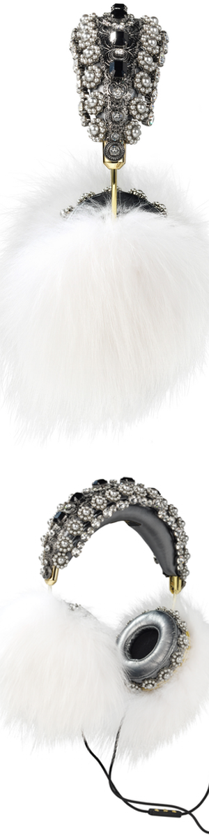Dolce & Gabbana Embellished Leather Headphones with White Fox Fur