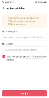 Contoh formulir untuk diisi dengan nomor rangka PKB e-Samsat Jabar
