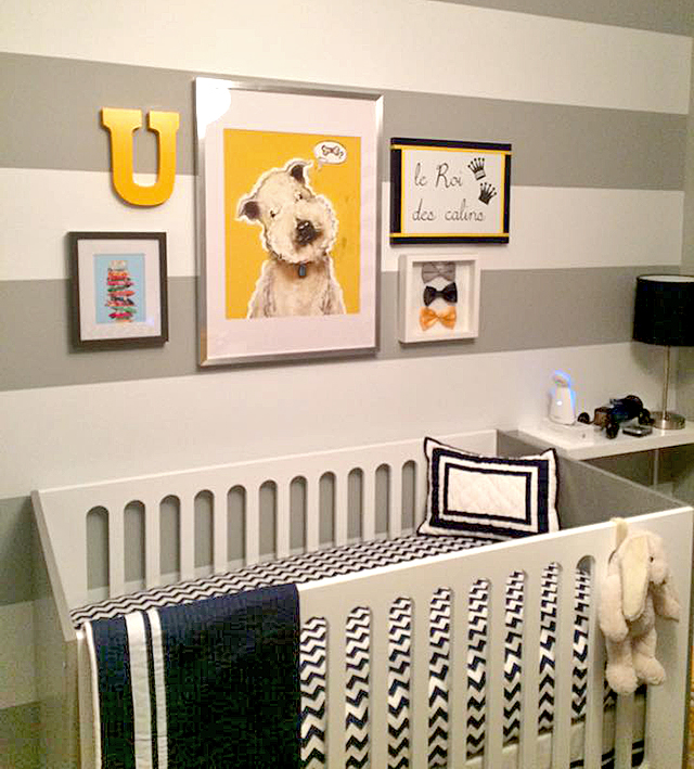 Cute KidRoom, Children Place, room decoration idea for boy, gray, Hermes mango yellow Ikea bedroom clothes drawers, black and white stripe curtain, vintage gray sofa, elephant toutou, animal baby toys