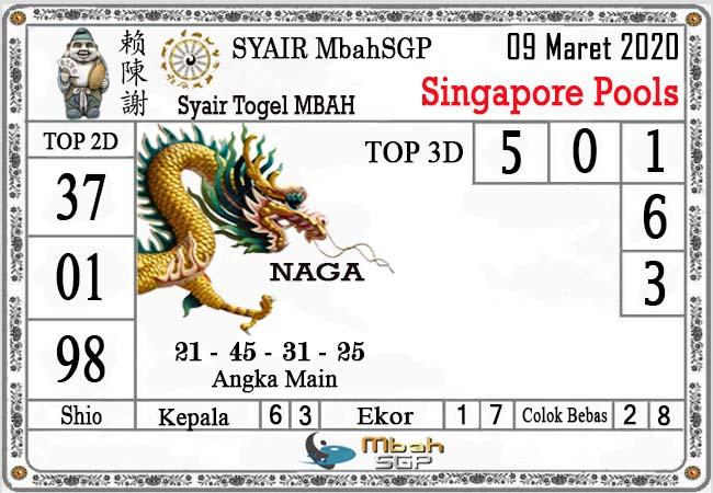 Prediksi Togel Bocoran Singapura Senin 09 Maret 2020 - Syair MbahSGP