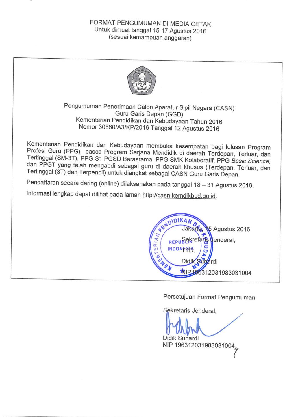 Penerimaan Cpns Guru Garis Depan Ggd Tahun 2016 Kemdikbud Cpns Pada Kementerian Pendidikan Dan