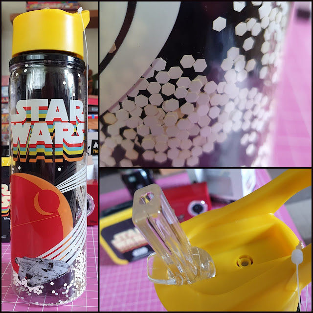 Collage of 3 photos. Full length, close up drinking spout and free floating stars