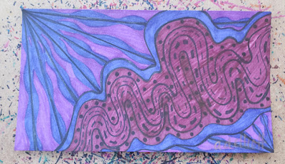 a pen and ink doodle meditation in purples and a blurb about sick days.