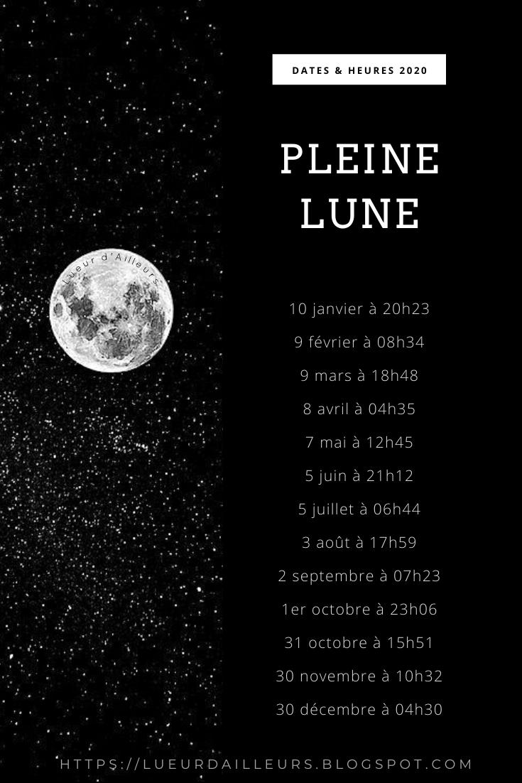 dates et heures des pleines lunes en 2020