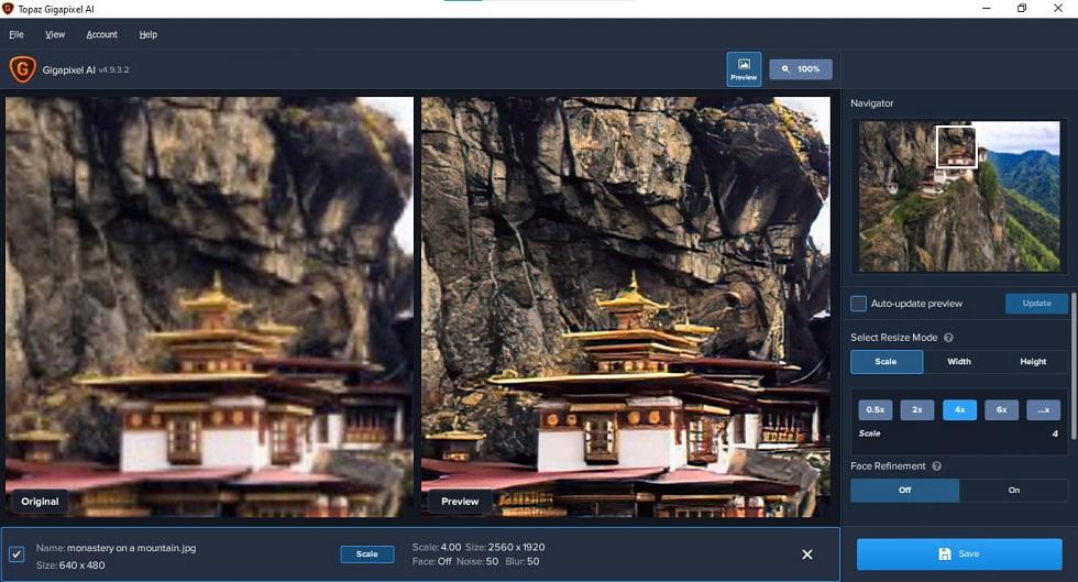 Topaz Gigapixel AI 4.8.2 Aplicación para mejorar las imágenes