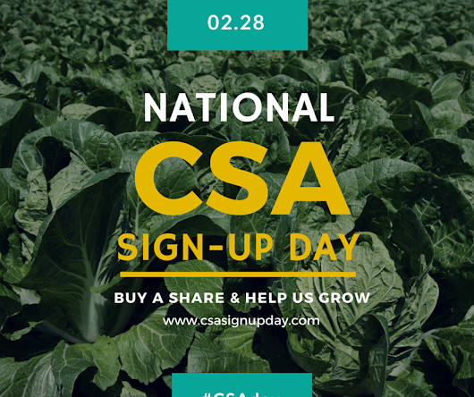 Clarion River Organics: National CSA Sign-up Day: Saturday, February 28th!