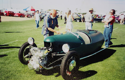 Bill Cahill and Morgan-style 3-wheel car he built in 1990