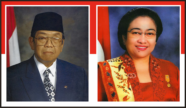 Gambar Presiden Abdurrahman Wahid (Gus Dur) dan Megawati Soekarno Putri