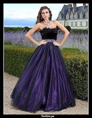 Vestidos de 15 color violeta y blanco