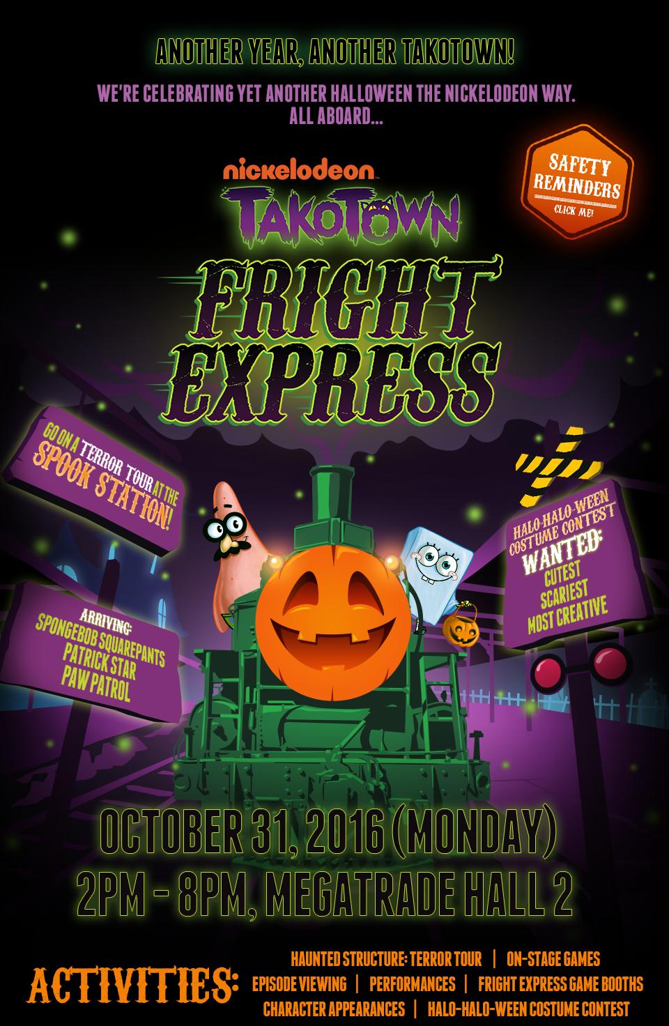 Nickelodeon October 2016 : nickelodeon, october, NickALive!:, Nickelodeon, Invites, Takotown, Fright, Express, Halloween