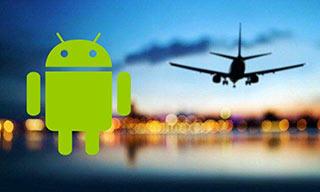 Logo Android accompagné d'un avion pour illustrer les Apps en voyage