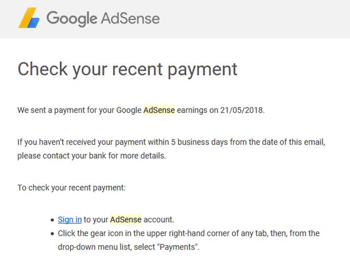 Email beritahu duit Adsense sudah dipindah ke akaun bank Malaysia