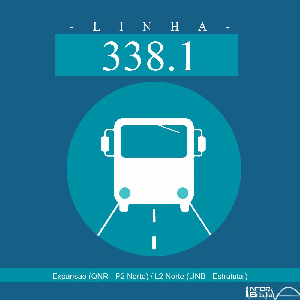 Horário de ônibus e itinerário 338.1 - Expansão (QNR - P2 Norte) / L2 Norte (UNB - Estrututal)