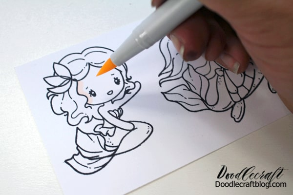 Step 2: Coloring Next use the Tombow ABT PRO Alcohol Based Markers to color the stamped images.