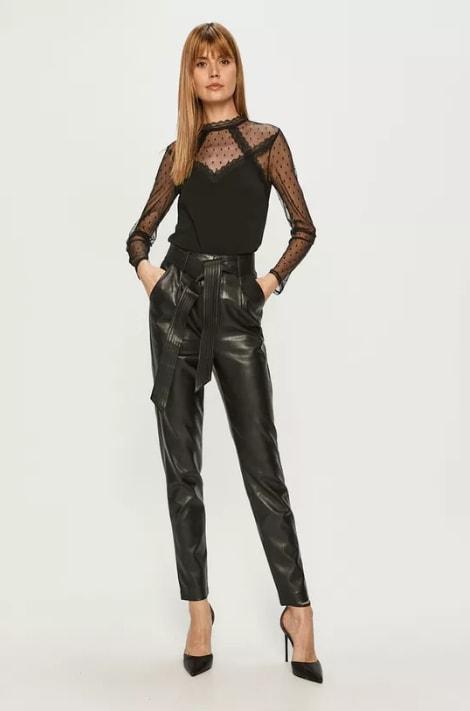 Morgan - Pantaloni din piele eco cu curea in talie