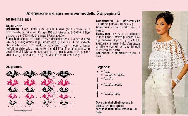 Poncho de crochê branco - Receita e gráfico