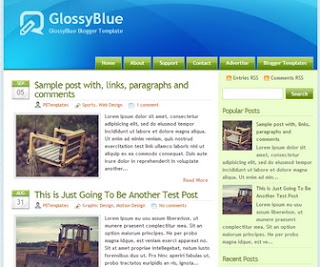 GlossyBlue Blogger Template