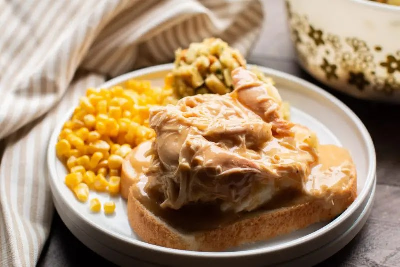 Chicken and gravy cooked in the slow cooker together, great over mashed potatoes.