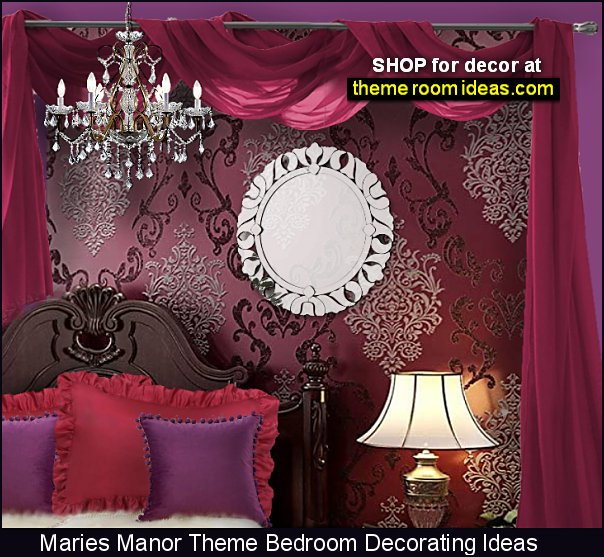 damask wallpaper crystal chandelier ruffled pillows bed canopy moulin rouge style bedroom decor